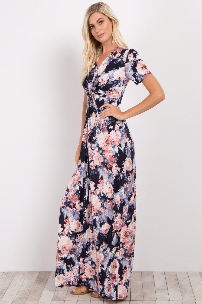 38++ Bohemian printed v neck knot maxi dress inspirations