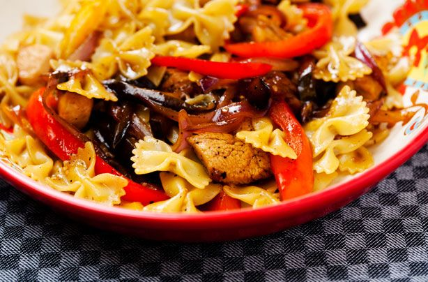 Chicken farfalle with sweet peppers and aubergine recipe - goodtoknow
