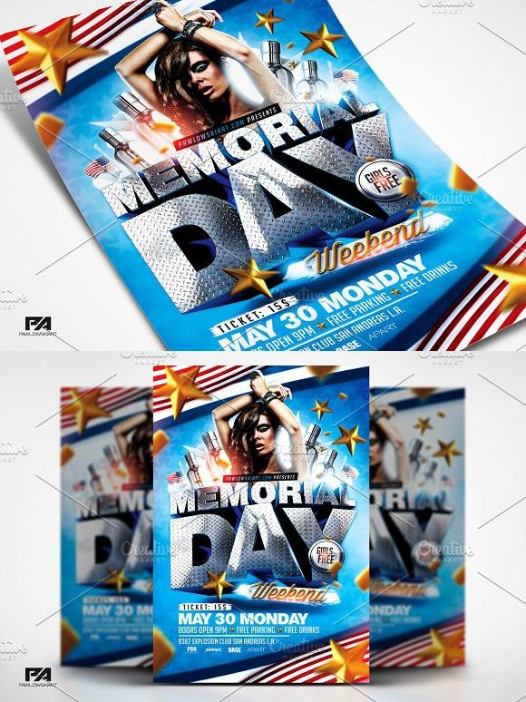 Memorial Day Weekend Flyer Template  Flyer Template Template And