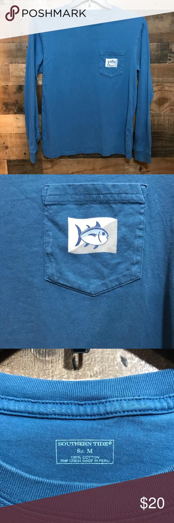 Southern Tide Blue Long Sleeves T Shirt Sz Medium Long Sleeve Tshirt Long Sleeve Southern Tide