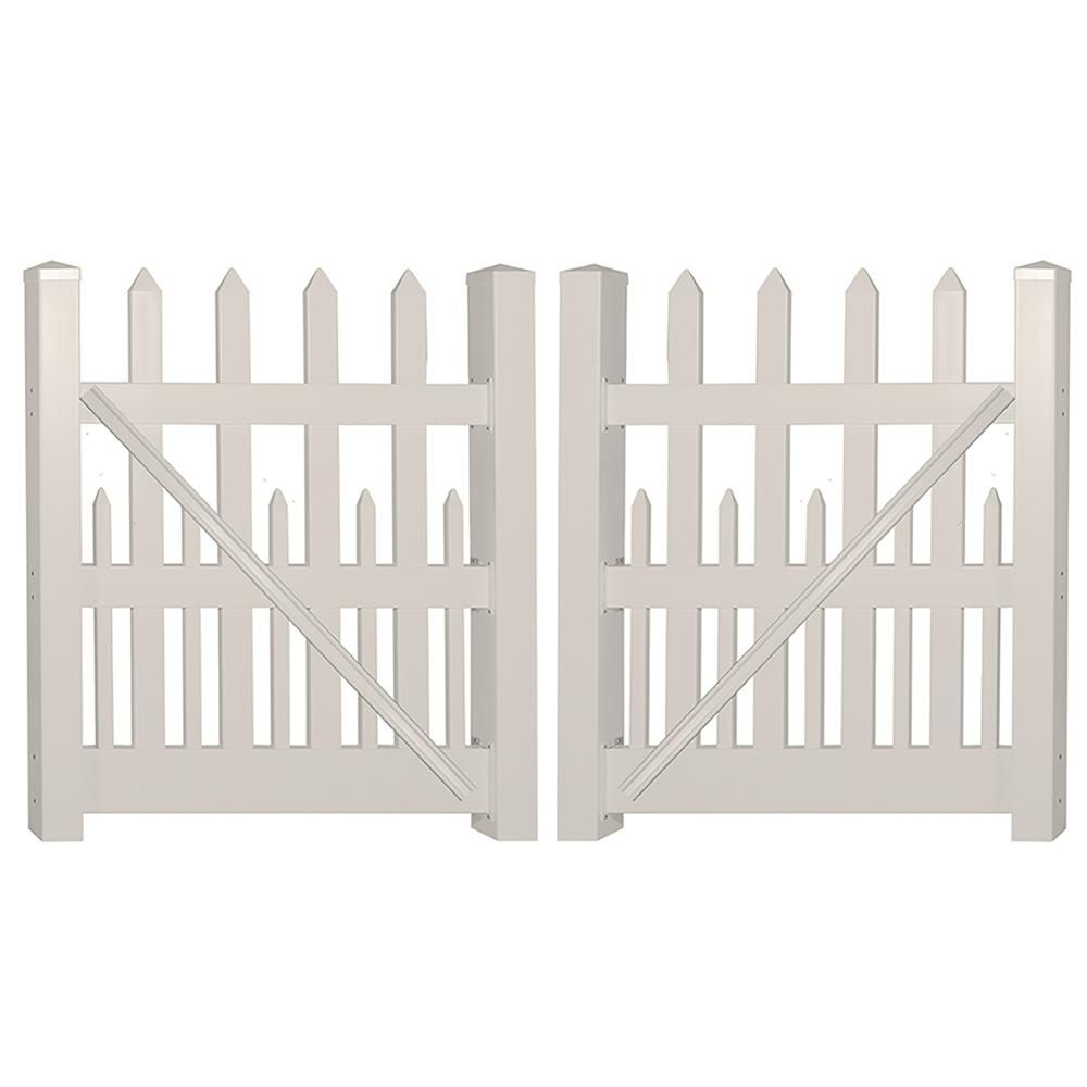 picket fence double gate. H Tan Vinyl Picket Fence Double Gate L