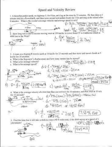 Physics Friction Worksheet Speed And Velocity Science Math