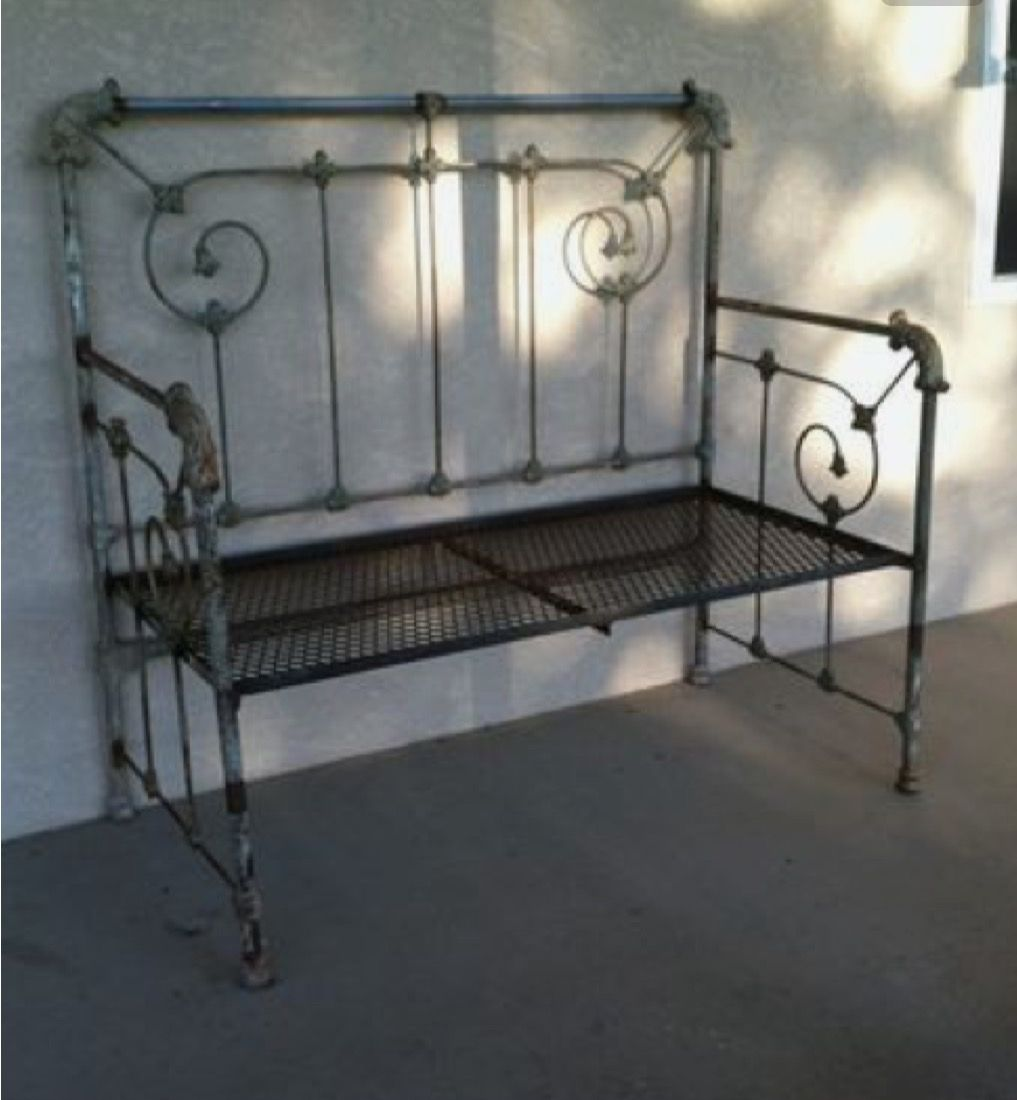 Garden Seat Made From Antique Iron Bed Repurposed Furniture