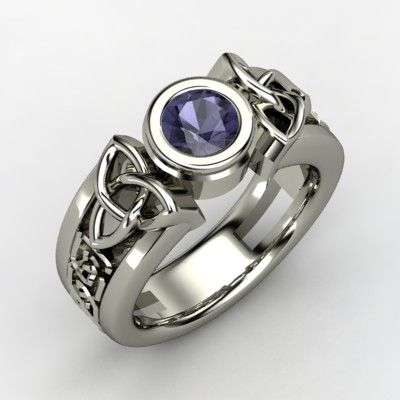 The Celtic Sun Ring customizable jewelry silver iolite