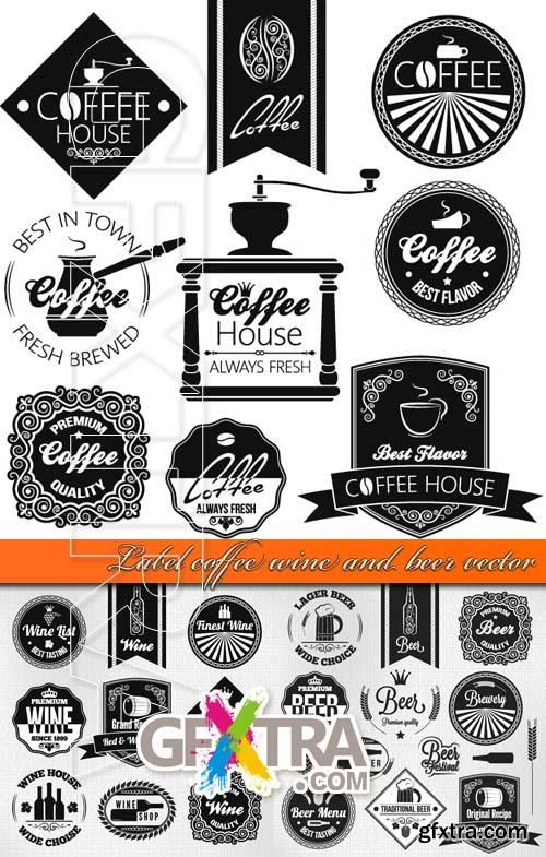 Label coffee wine and beer vector design elements Pinterest - free wine label design