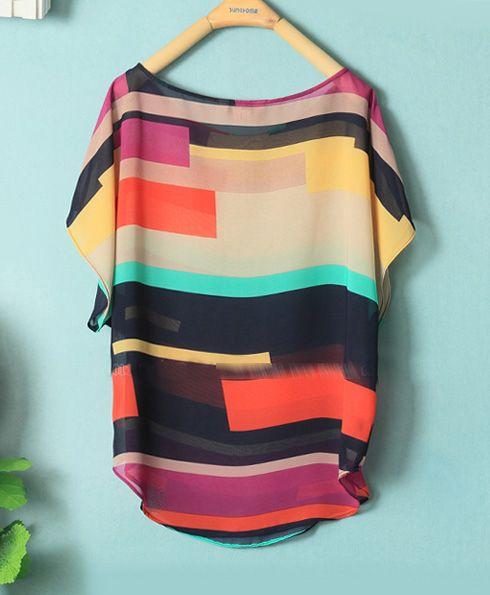 Color Matching Loose Chiffon Shirt