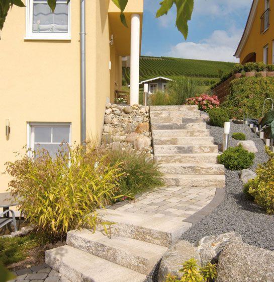 Via Leano Stufen in Muschelkalk-nuanciert #hinterhofterrassendesigns