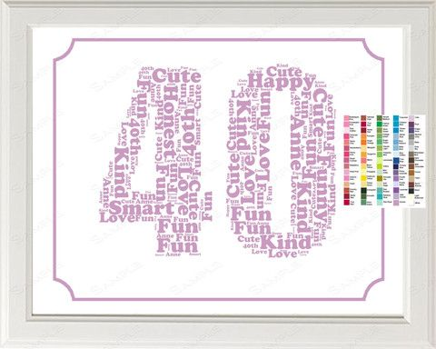 Personalized 40th Birthday Word Art Birthday Print - 40th Birthday ...