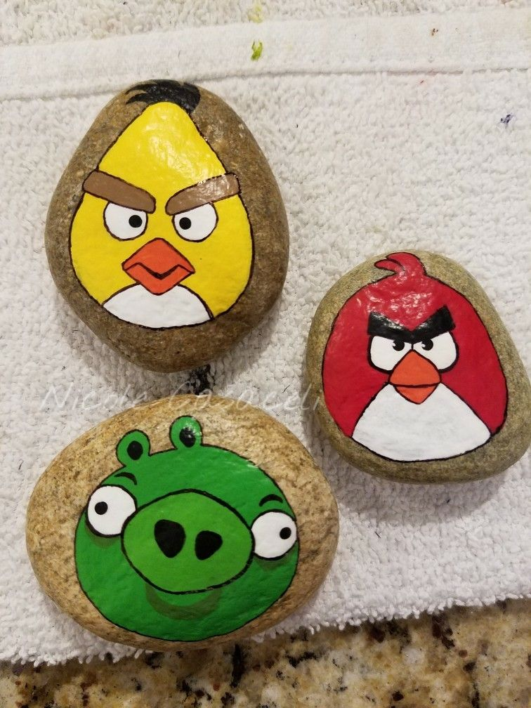 Angry birds painted rocks rocks pinterest no l - Angry birds noel ...
