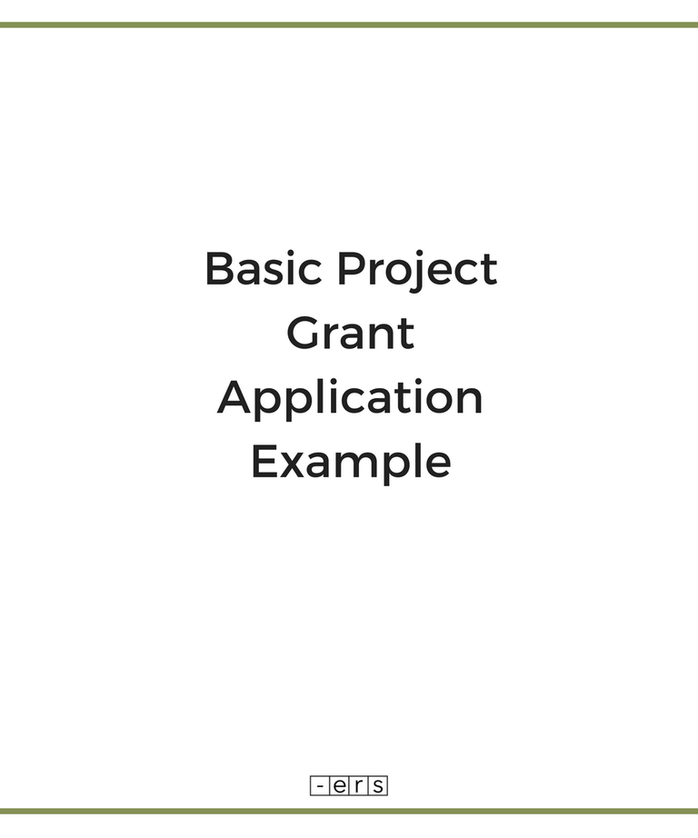 Basic Project Grant Application Example (With images