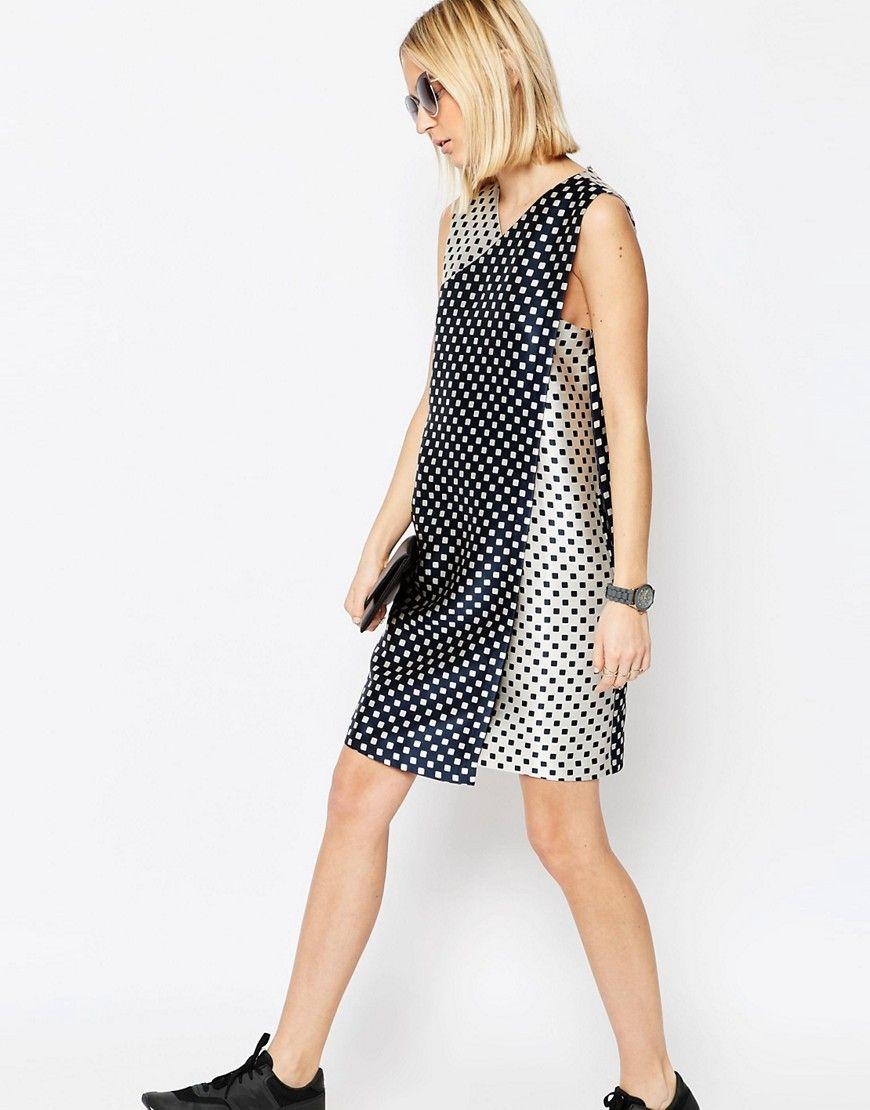 Image 4 ofASOS WHITE Reverse Block Jacquard Mini Dress