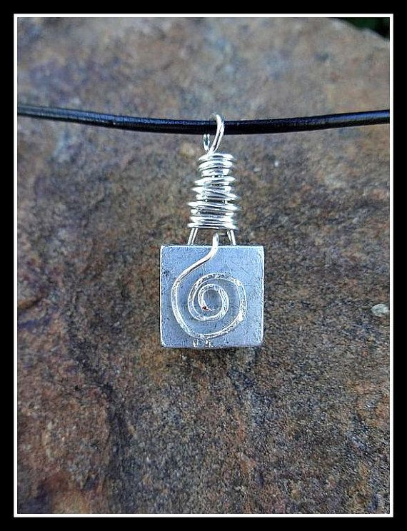 Rock Climber's Necklace - Repurposed Reversible Climbing Stopper on Black Leather Cord with Sterling Silver Wire Wrap and Clasp