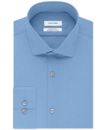 2cd9fbc4f8b8 Calvin Klein X Men's Steel Extra-Slim Fit Non-Iron Performance Herringbone Dress  Shirt - Green 16.5 34/35