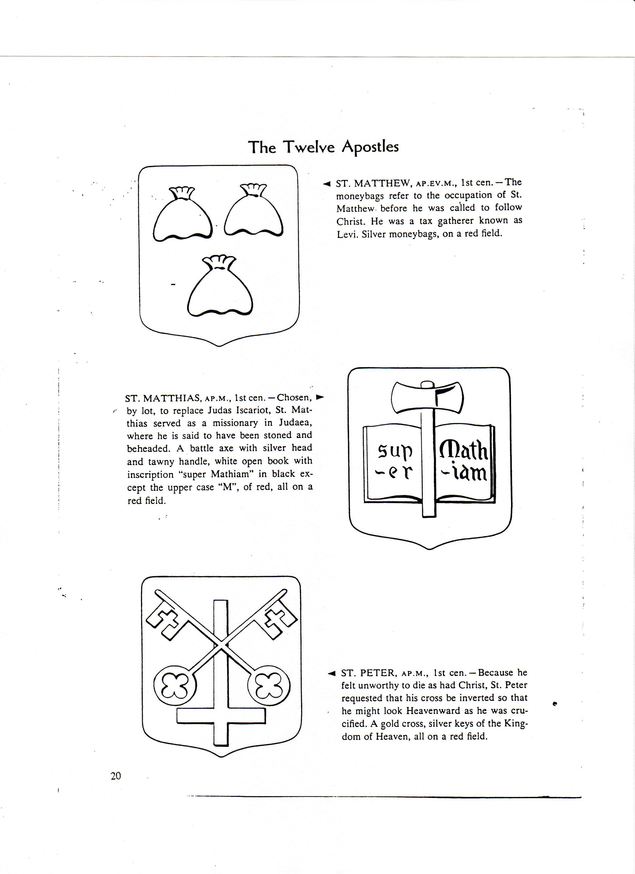 Symbols Of 12 Apostles Matthew Peter