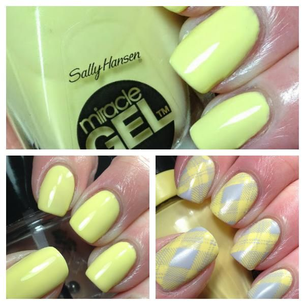 Started with a base of three coats of Sally Hansen Miracle Gel Lemon ...