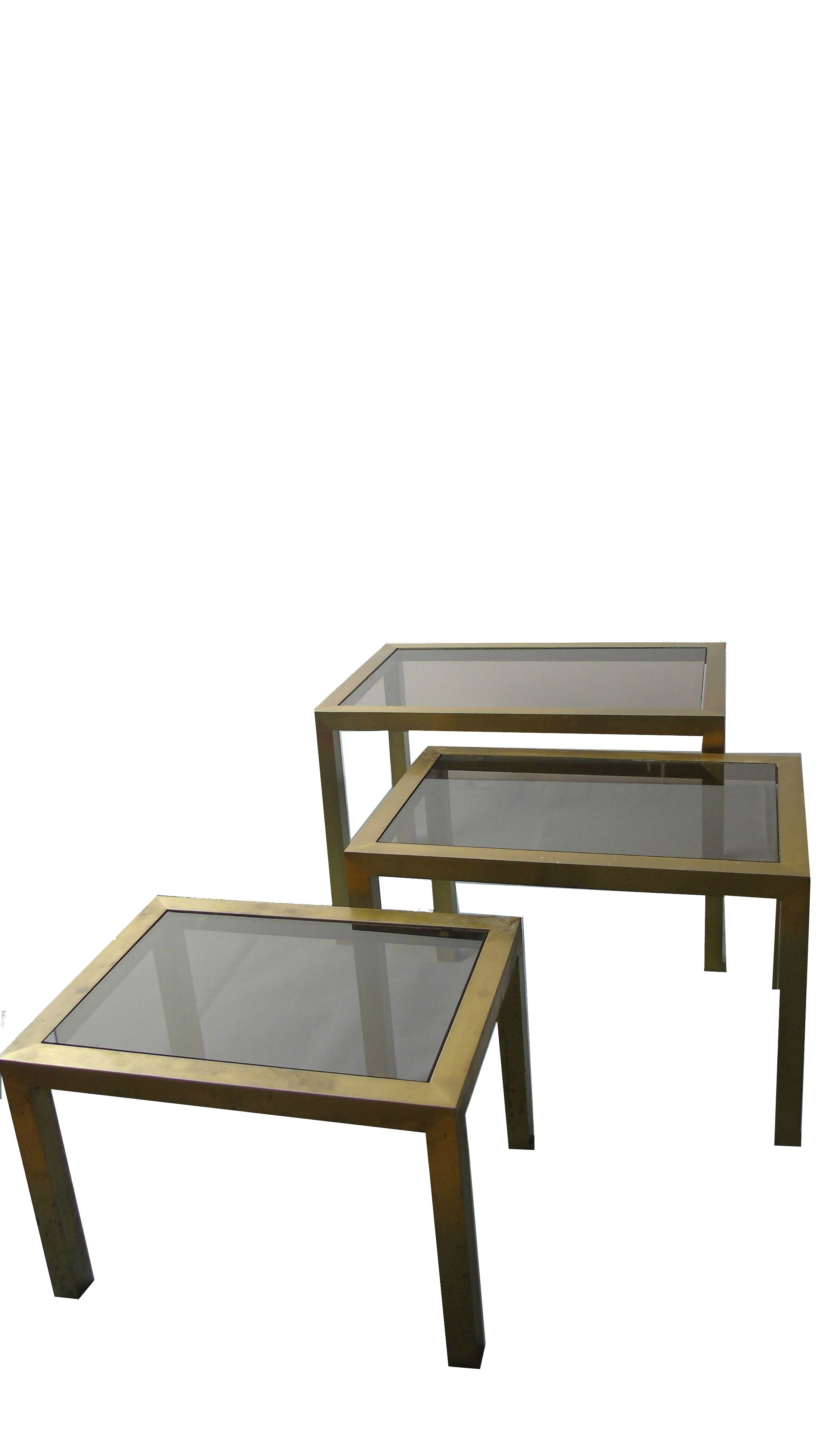Verbazingwekkend Set of vintage brass nesting tables with smoked glass, 1960s KM-14