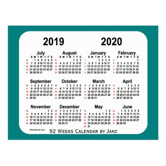 20192020 Teal 52 Weeks Calendar by Janz Postcard in 2020