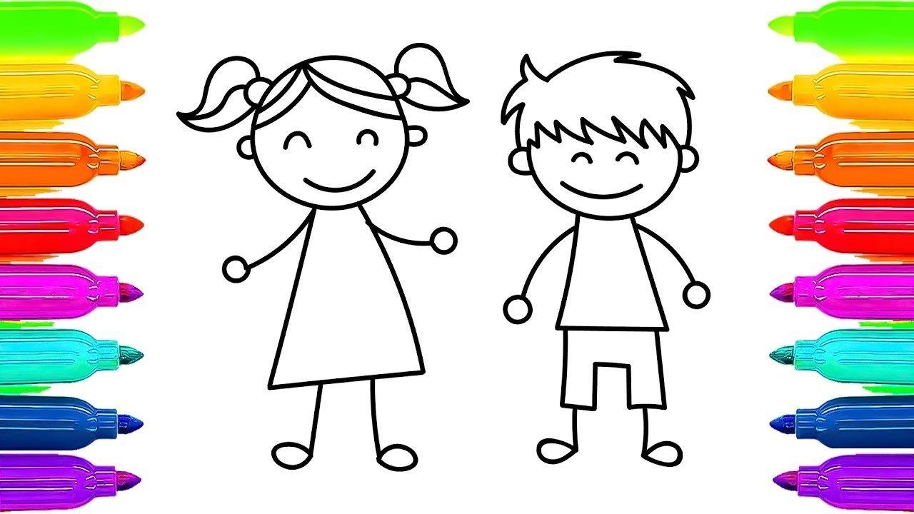 تعلم رسم وتلوين أطفال أولاد وبنات كرتون اطفال Drawing For Kids Boy Drawing Drawing Videos For Kids