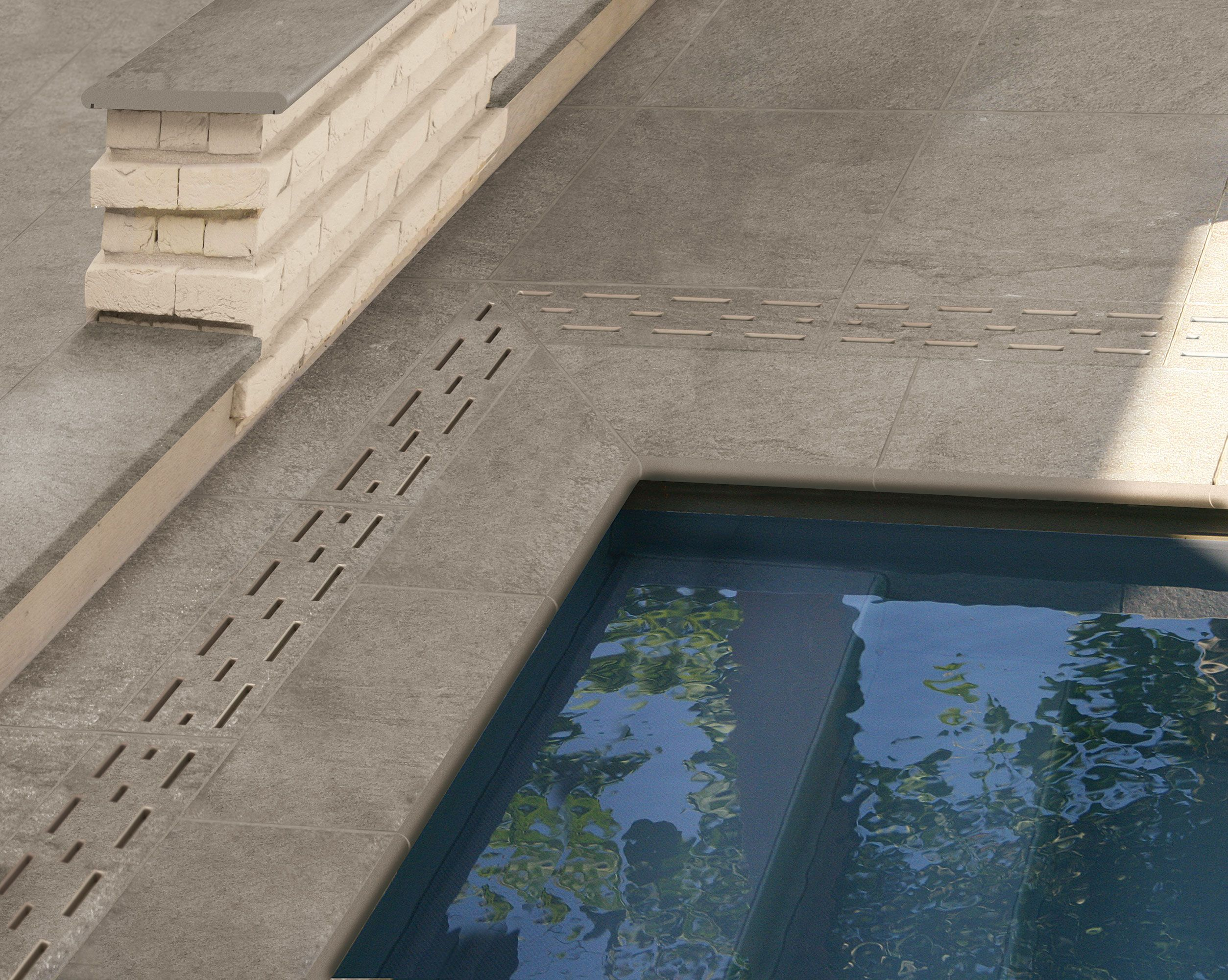 Poolumrandung Outdoor Keramik Komplettlösung