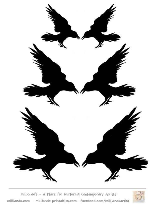 Crow Silhouette Template Collection