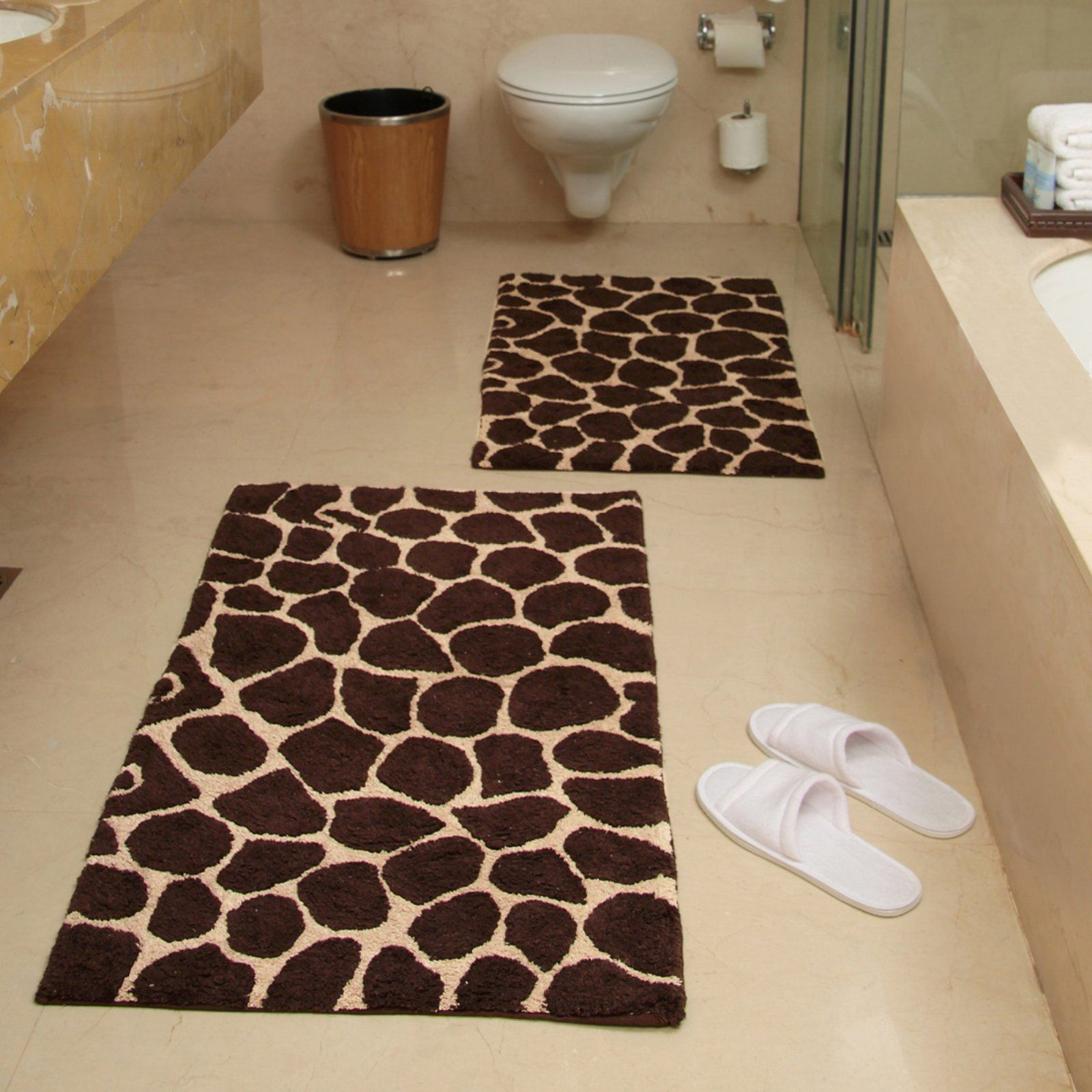 2 Piece Giraffe Bath Rug Set Chocolate And Beige With Images