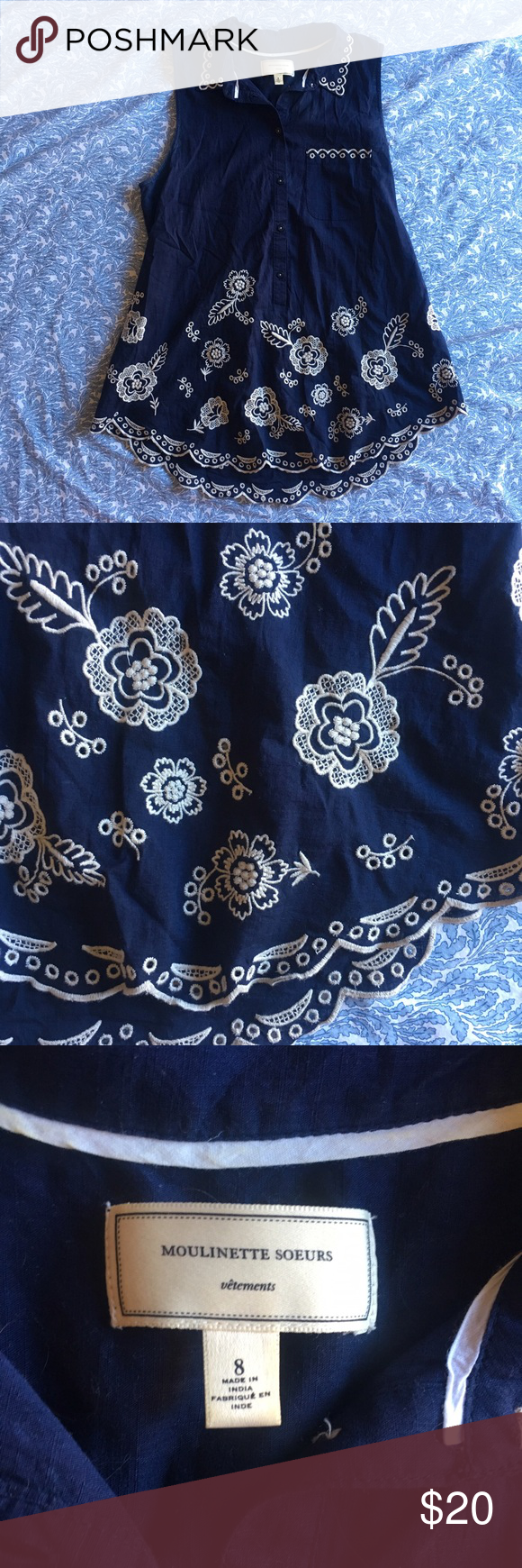 Moulinette Soeurs navy floral embroidered top Worn but in great condition Anthropologie Tops Tank Tops