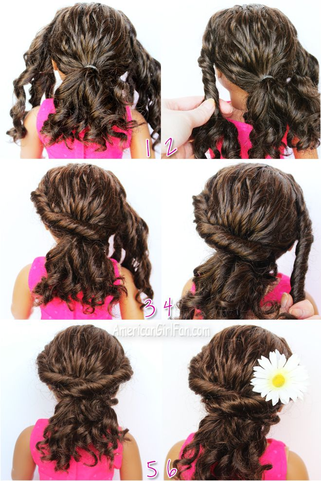 Doll Hairstyle Twisted Ponytail For Curly Hair American Girl Doll Hairstyles Curly Hair Styles Ag Doll Hairstyles