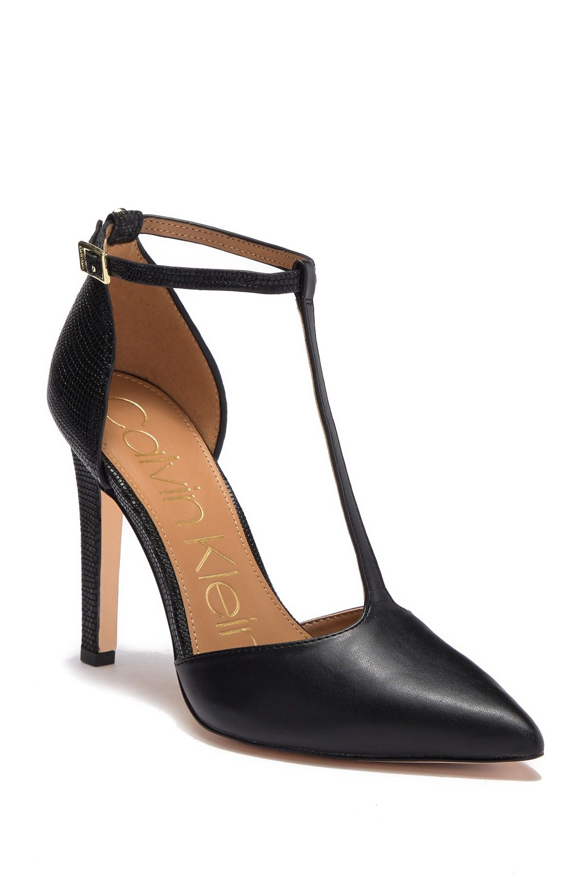 bc9089714 Calvin Klein - Brandy T-Strap Leather Lizard Embossed Stiletto is now 50%  off. Free Shipping on orders over $100.