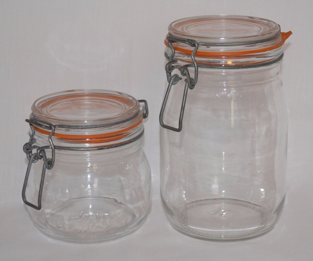 Vintage Arc France Niveau Glass Jars Canisters Wire Bale Closure 1 2 L 1 L Glass Canning Jars Vintage Kitchen Jar