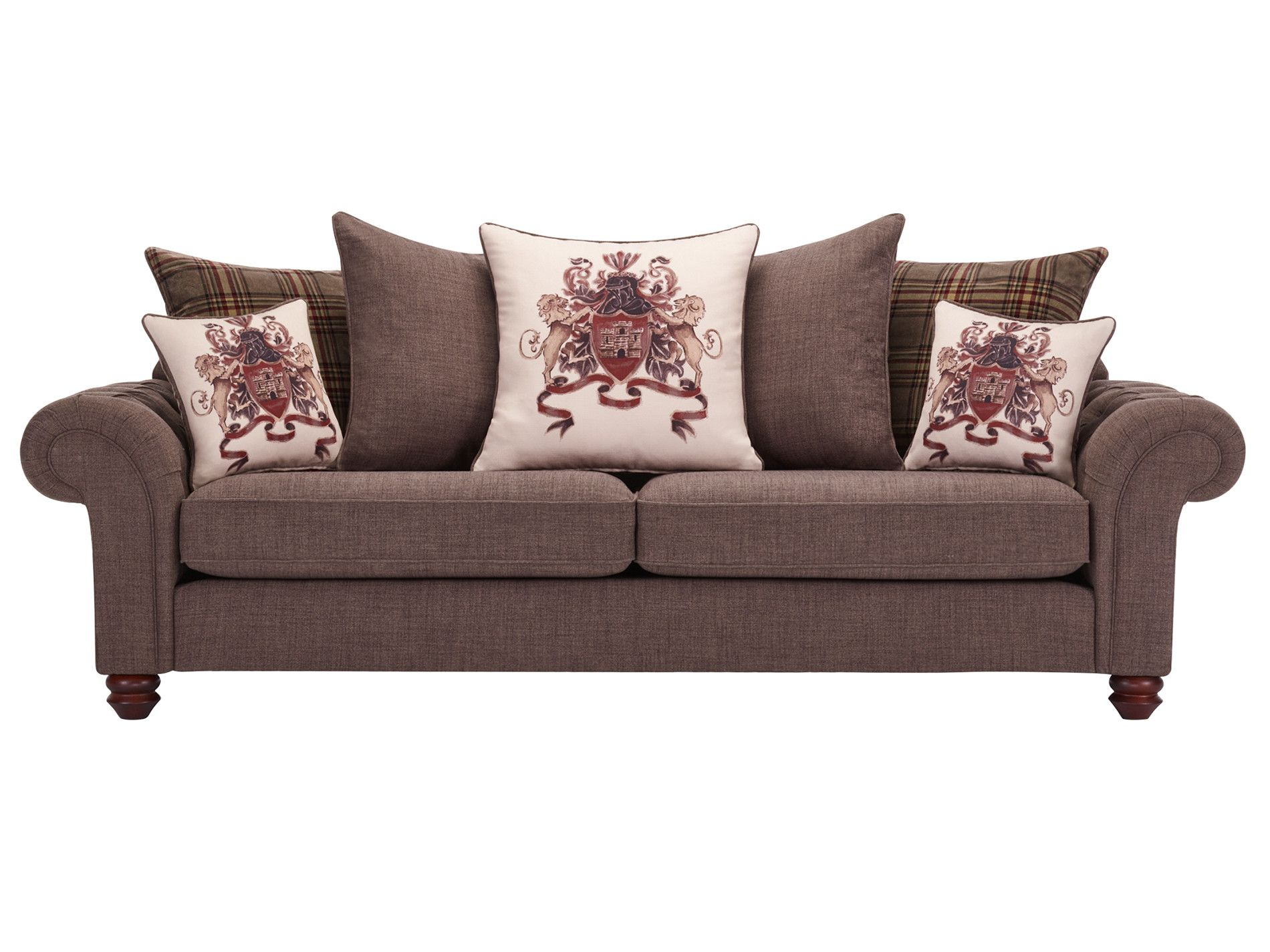 Sandringham 4 Seater Pillow Back Sofa In Brown With Beige