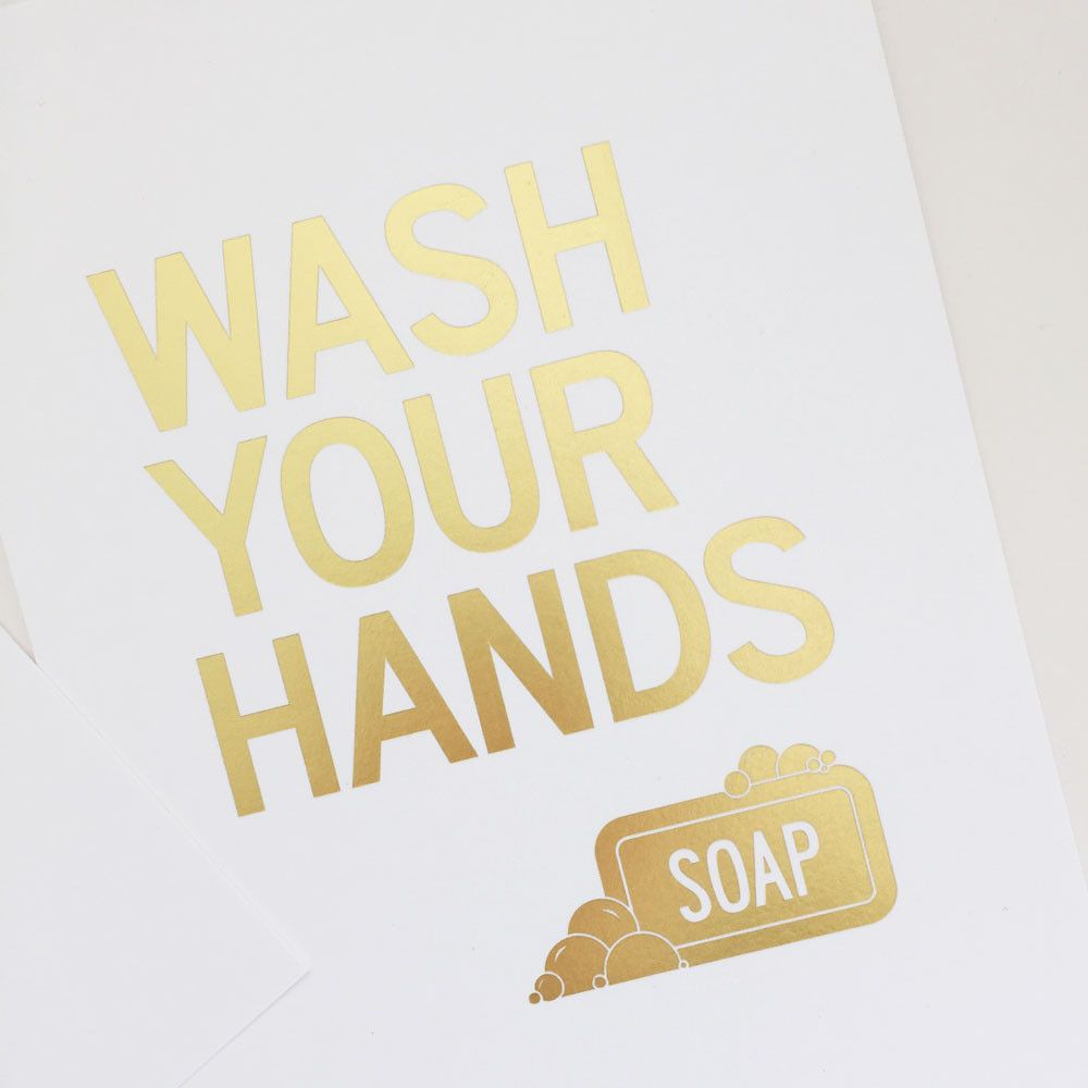 Gold Bathroom Wall Art Print – Wash Your Hands | Gold bathroom ...