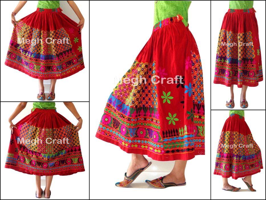 c29e941b81 Vintage Banjara Indian Cotton Skirt Antique Hand Embroidered Kucthi Rabari  Skirt, Vintage Red Rabari Long Embroidered Skirt. Tribal. Hand Embroidered.