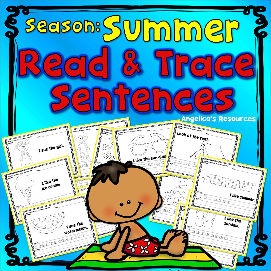 Seasons Summer Sight Words Handwriting Worksheets End