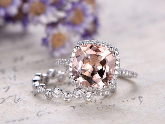 2pcs 9mm VVS Morganite engagement ring with diamond set 14k