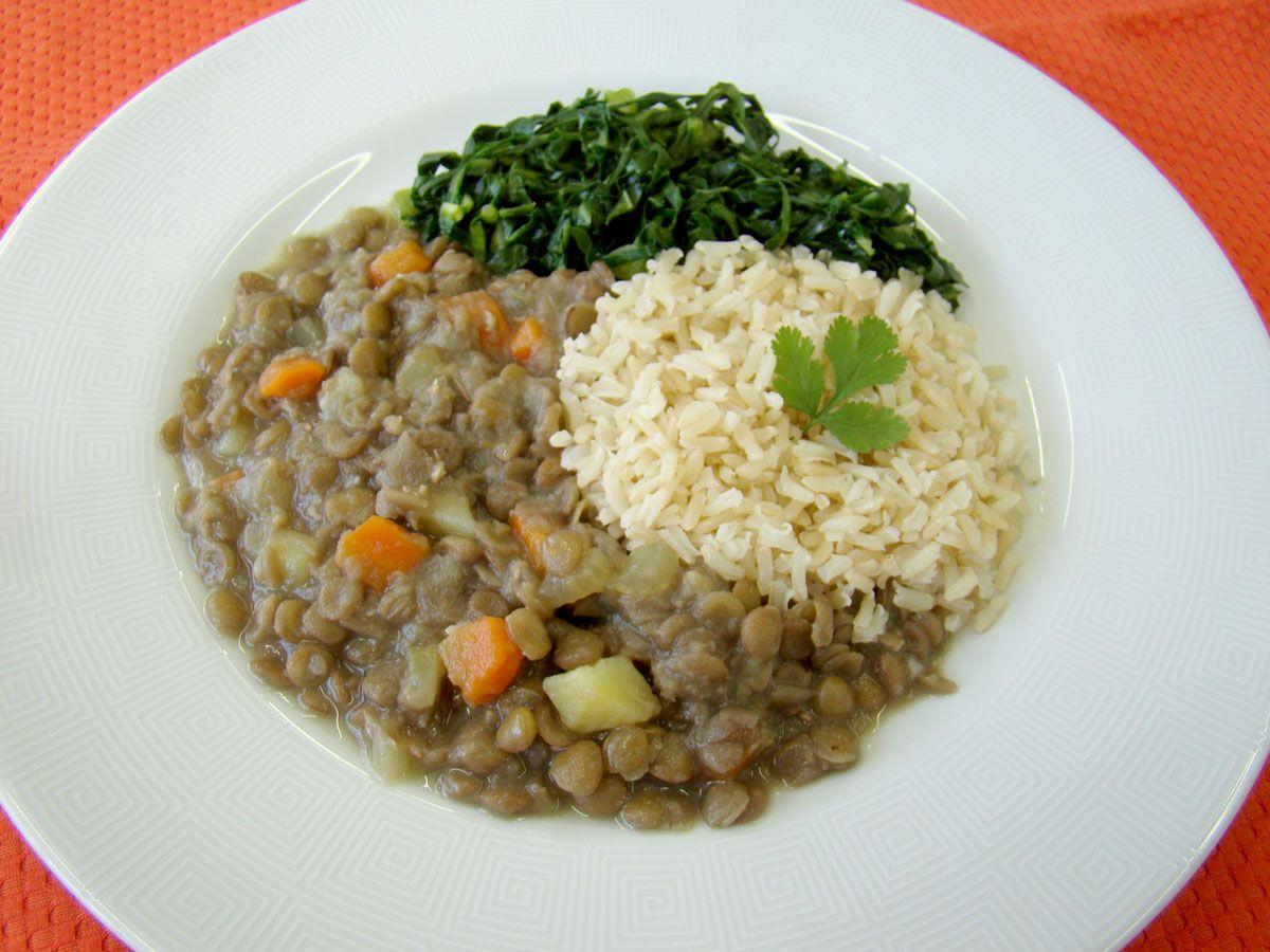 Veggie Lentilha Com Legumes Arroz Integral E Couve Refogado Sem