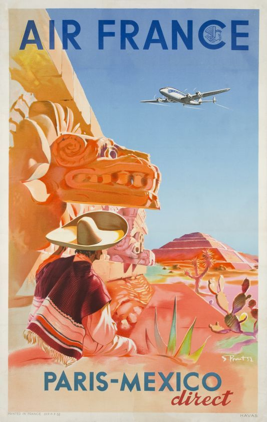 A vintage Air France travel poster for a Paris to Mexico direct - new air france world map flight routes c.1948