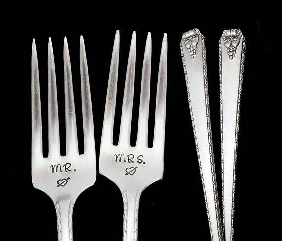 Silverware Wedding Gifts: Stamped Fork Mr Mrs Fork Something Old Wedding Silverware