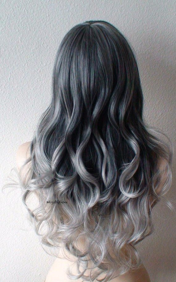 Gunmetal silver ombre wig. Lace front wig. Long black silver wig. Heat friendly Synthetic wig for women. Everyday wig. Cosplay wig.