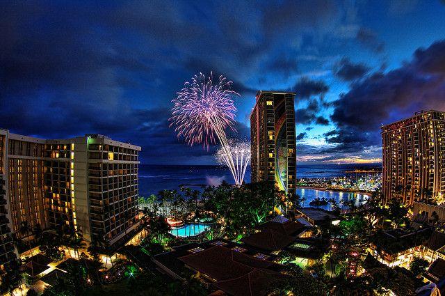Waikiki Fireworks by /\ltus, via Flickr