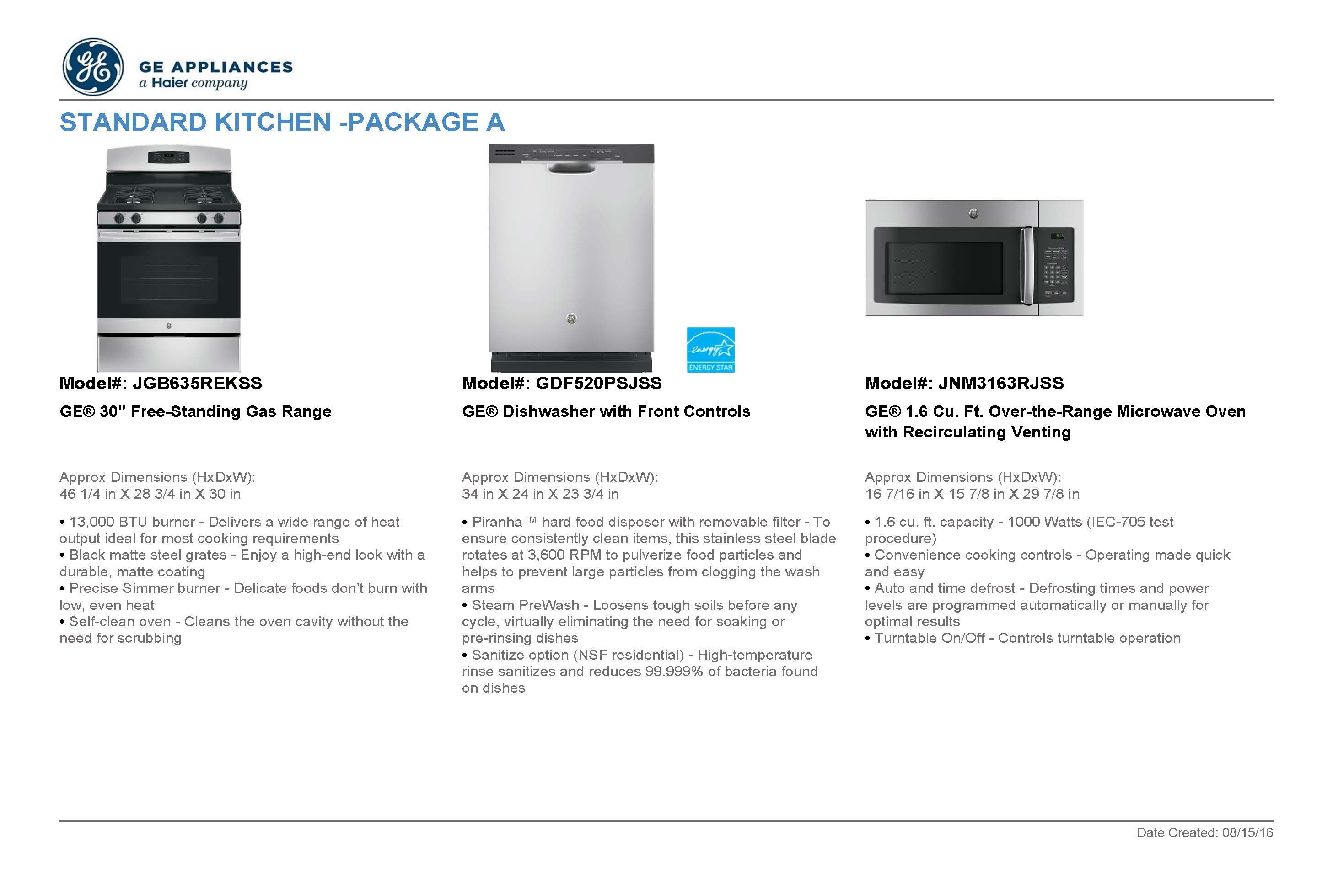 Standard kitchen appliances package a stainless steel standard standard kitchen appliances package a stainless steel standard package for serenade upgrade publicscrutiny Gallery