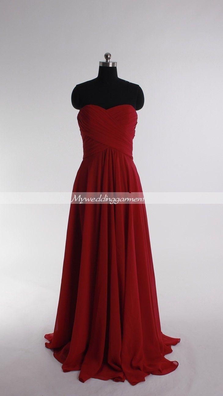 Empire red prom dress long bridesmaid dresses custom homecoming