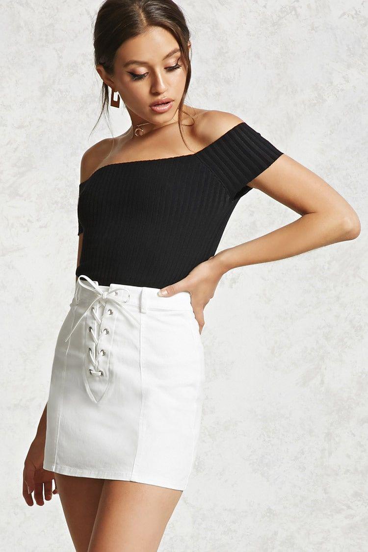 a73dd31ff Minifalda Mezclilla Cordones Cruzados - Mujer - Pantalones + Faldas ...