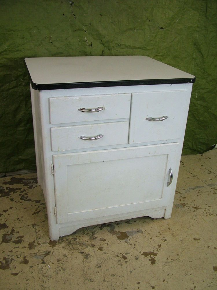 Vintage 1950s Porcelain Enamel Top WOOD Kitchen Shop Cabinet Work Storage