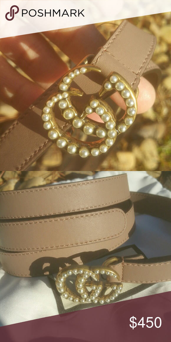 4c40b7db9 Leather belt with Pearl Double G buckle New with dust bag included 100%  guaranteed authentic Gucci Accessories Belts