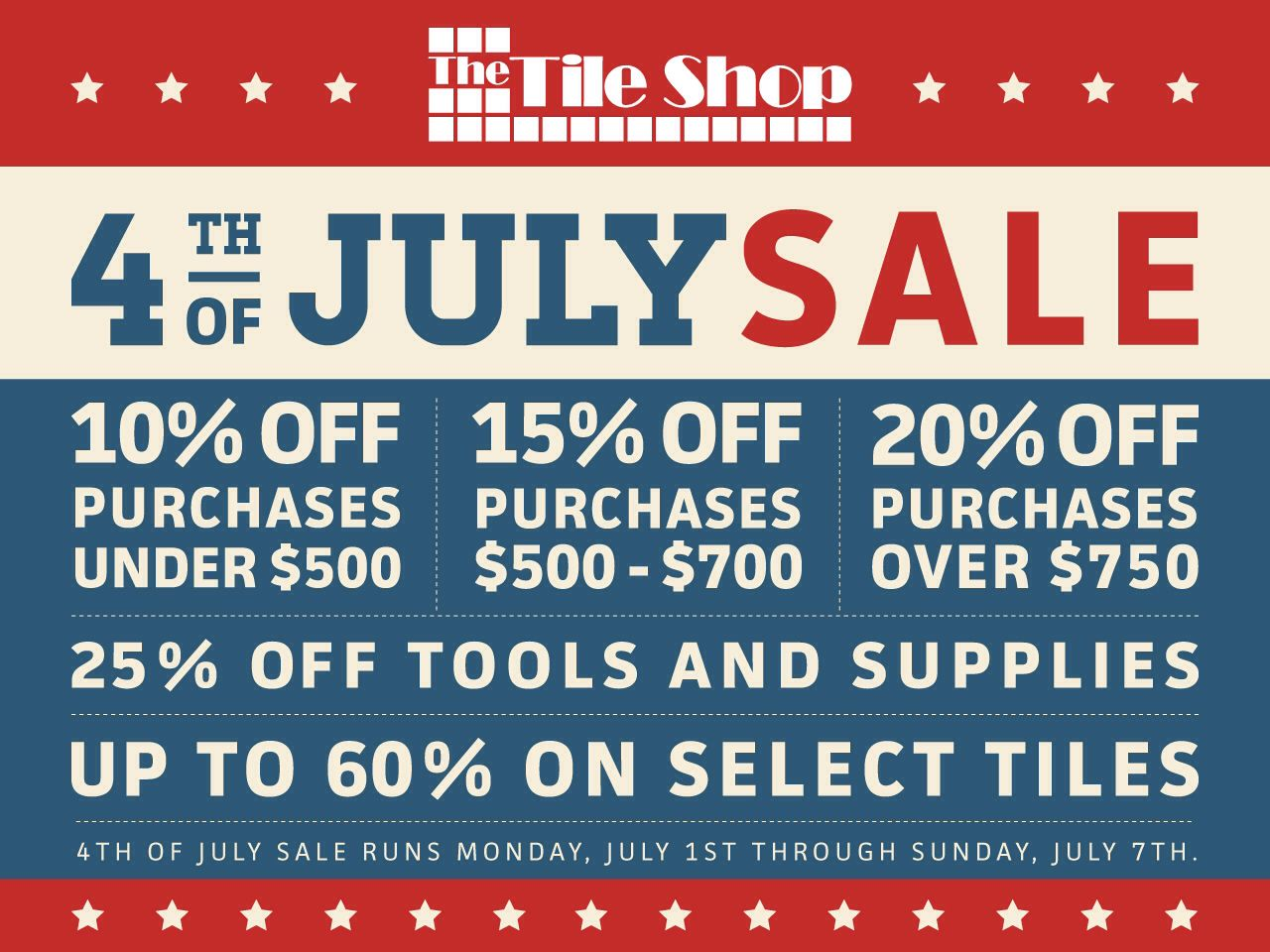 Take advantage of our 4th of July Sale through 7.07.13. #thetileshop ...