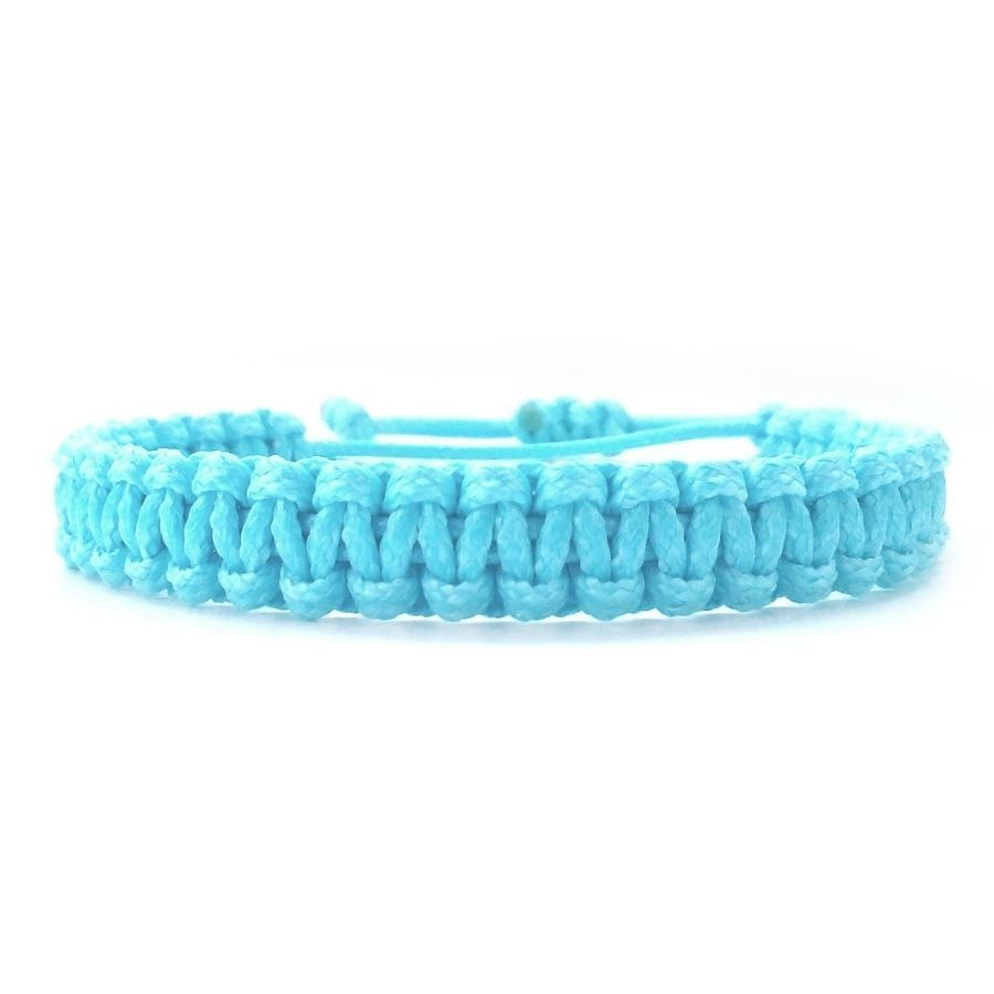 Menus braided wristband friendship bracelet sea blue color accessory