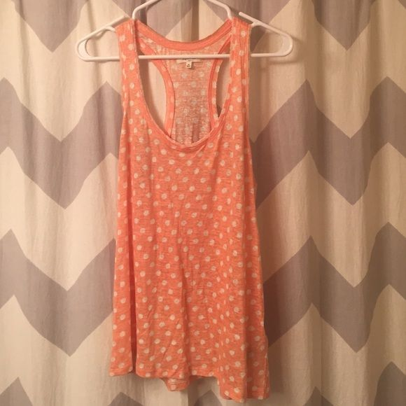 Madewell polka dot tank Coral racer back tank with white polka dots. Worn once. Madewell Tops Tank Tops
