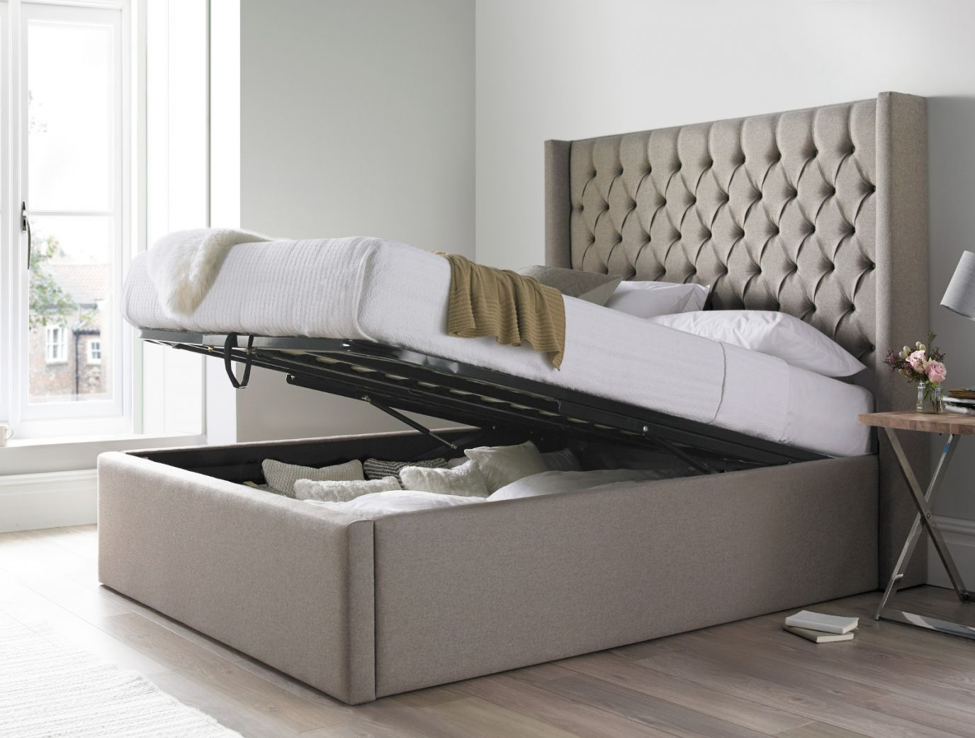 Islington Upholstered Ottoman Bed Frame Ottoman Storage Bed Bed