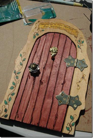 Fairy garden doors on pinterest fairy doors fairy for Homemade fairy doors