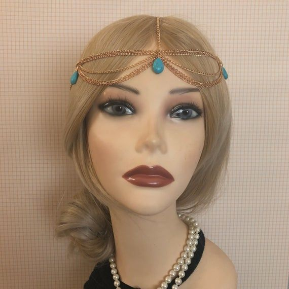 1920's BLUE-Green Turquoise Flapper Headpiece Southwest Head Chain Rhinestone Gatsby Costume Gold Adjustable 20's Art Deco Goddess (947)